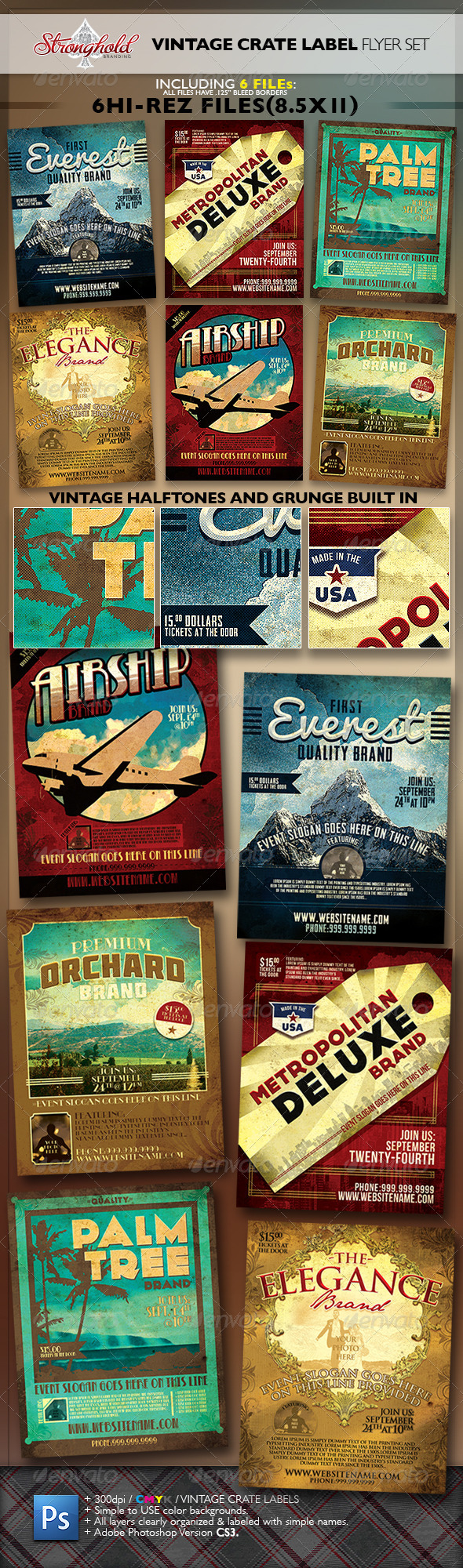 Vintage Fruit Crate Label Flyer Template Set