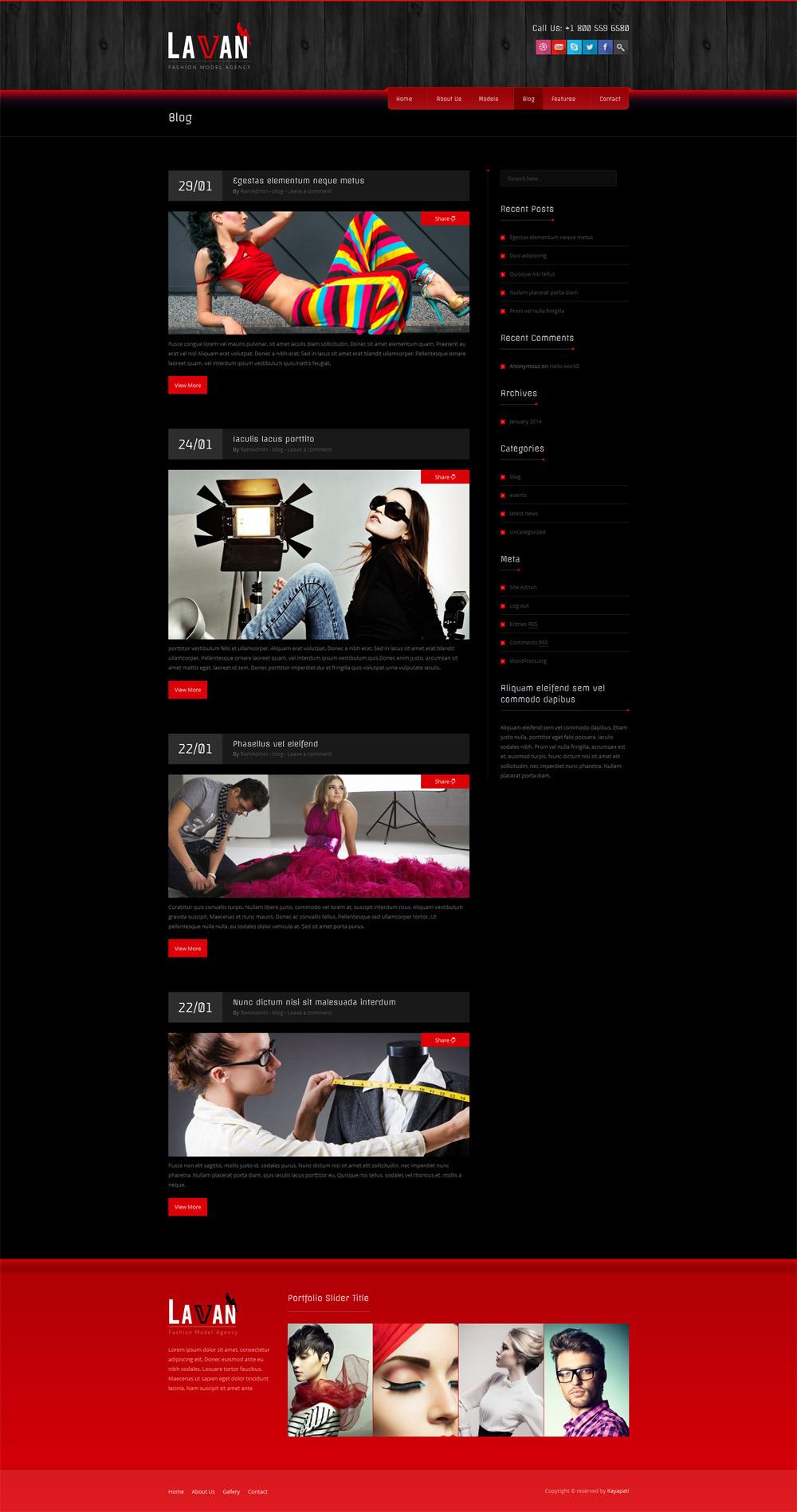 Lavan - Fashion Model Agency WordPress CMS Theme