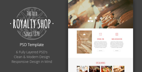 ThemeForest Royalty Shop Restaurant PSD Template 6745668