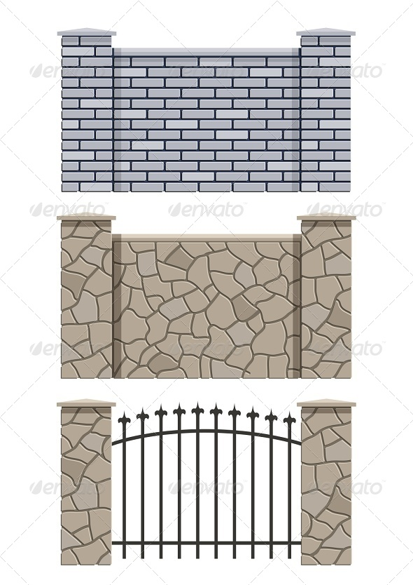 GraphicRiver Brick and Stone Fence 6774439