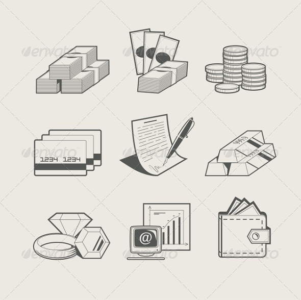 GraphicRiver Money and Jewellery Set 6774459