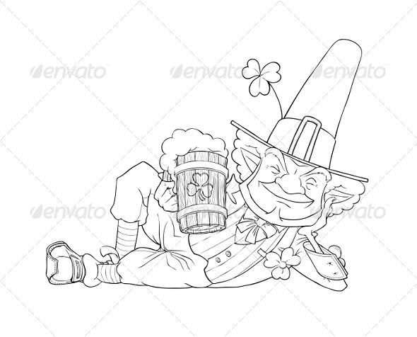 GraphicRiver Elf Leprechaun with Beer For Saint Patrick s Day 6774469