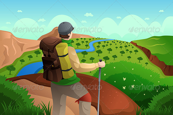 GraphicRiver Backpackers on Top Mountains 6774483