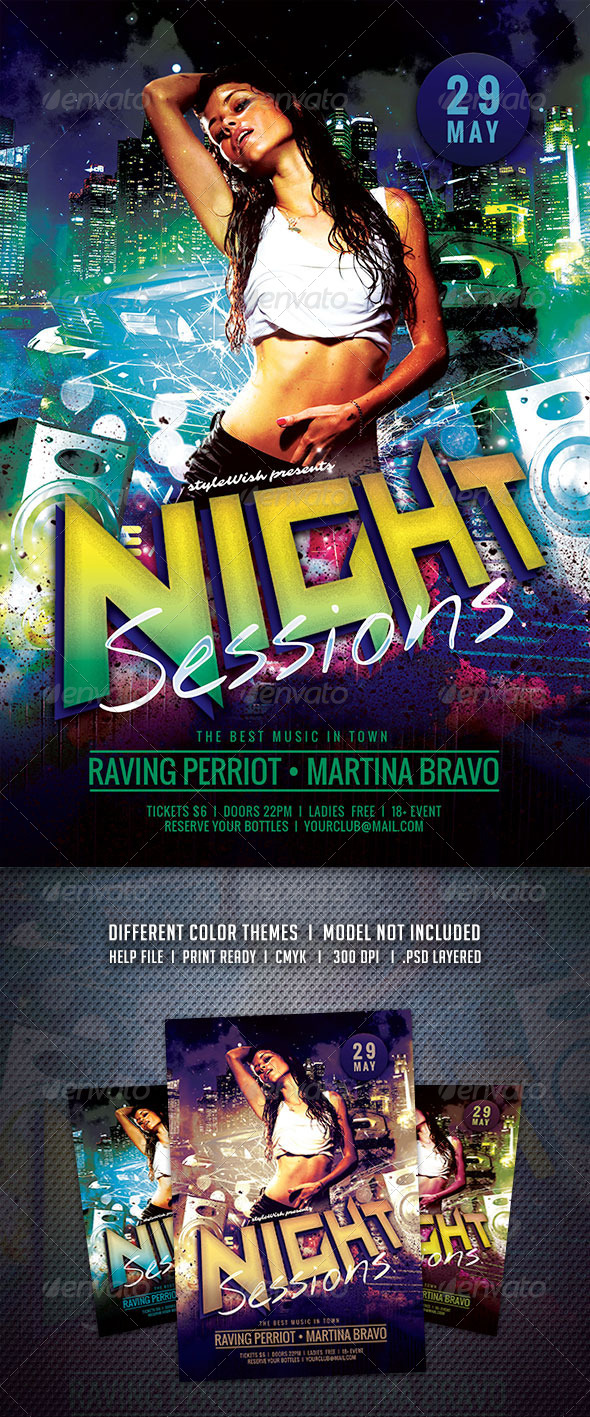 GraphicRiver Night Sessions Flyer 6774508