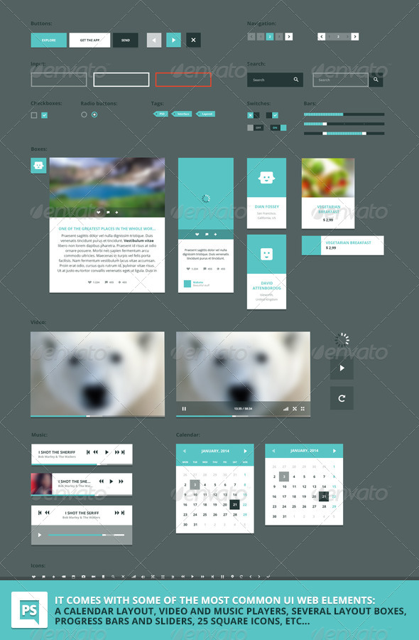 GraphicRiver Square PSD vector UI web set 6774533