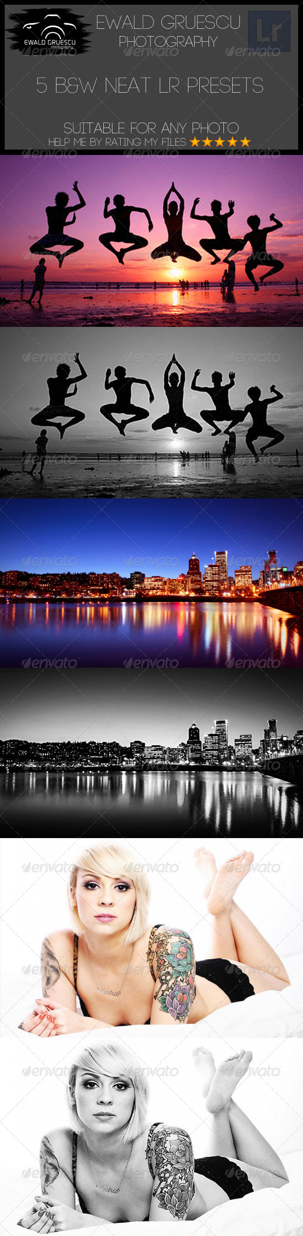 GraphicRiver 5 B&W Neat Lightroom Presets 6775557