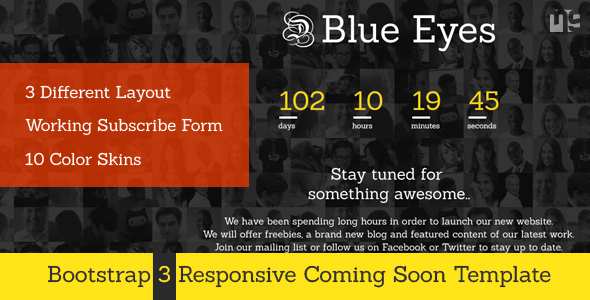 ThemeForest Blue Eyes Responive Coming Soon Template 6729941
