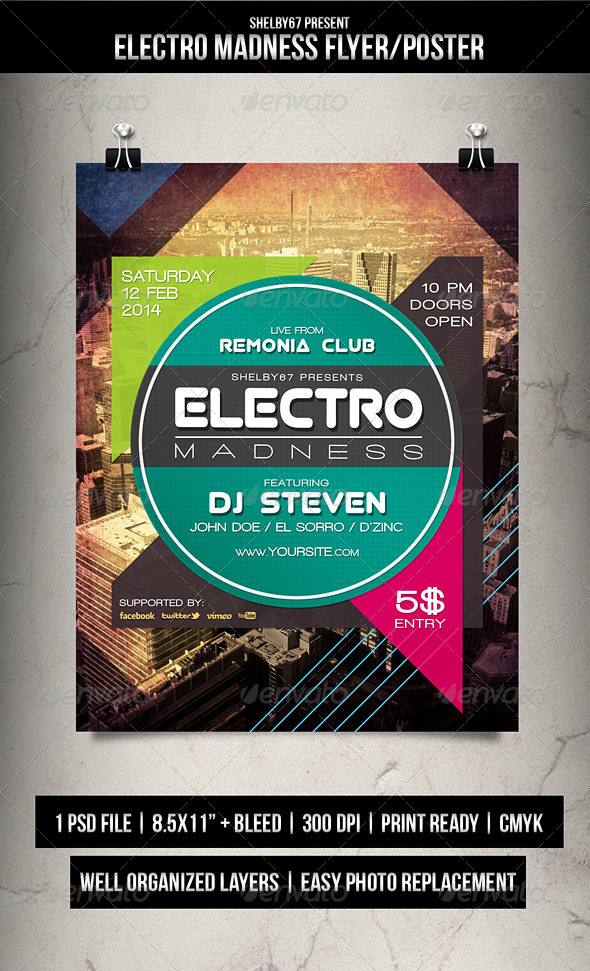 GraphicRiver Electro Madness Flyer Poster 6776057
