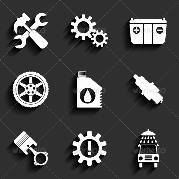 GraphicRiver Car Service Maintenance Flat Icon Set 6776639