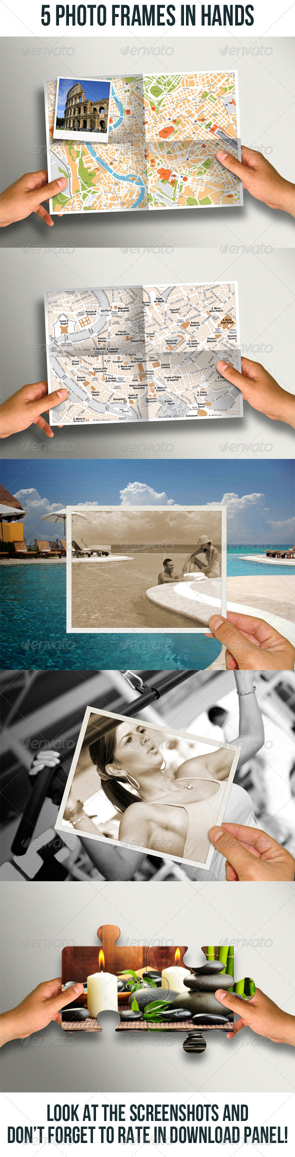 GraphicRiver 5 Photo Frame In Hands Bundle 6777685