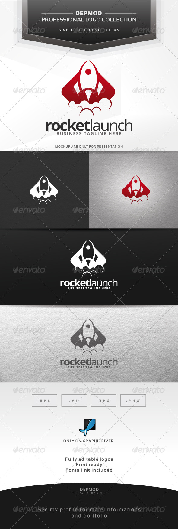GraphicRiver Rocket Launch Logo 6777874