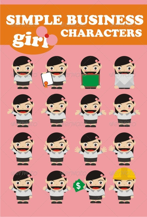 GraphicRiver Simple Business Characters Girl 6778746