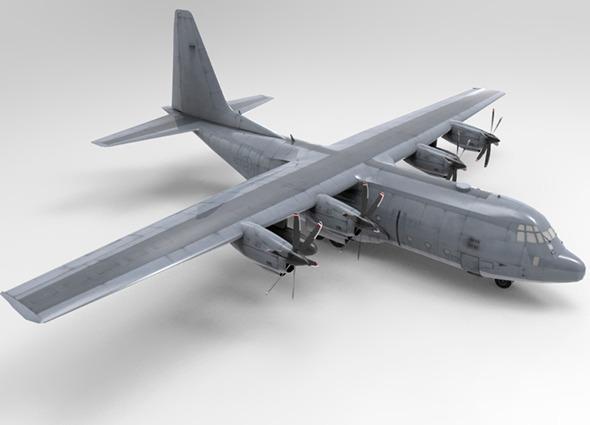 3DOcean Low Poly US Lockheed C130 Hercules Airplane 6779304