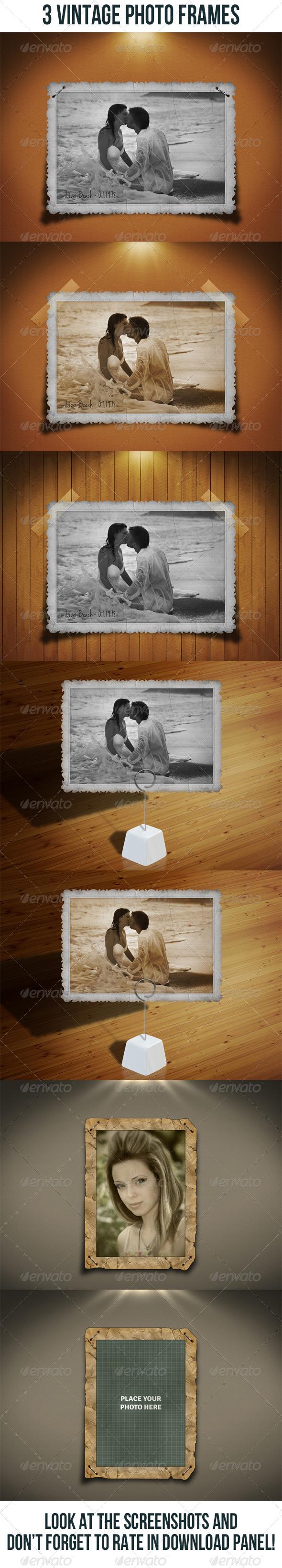GraphicRiver 3 Vintage Photo Frames Bundle 6779309