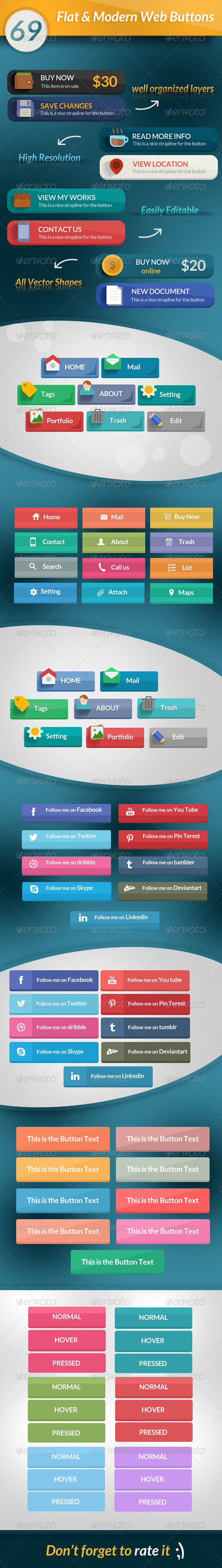 GraphicRiver 69 Flat & Modern Web Buttons 6770377