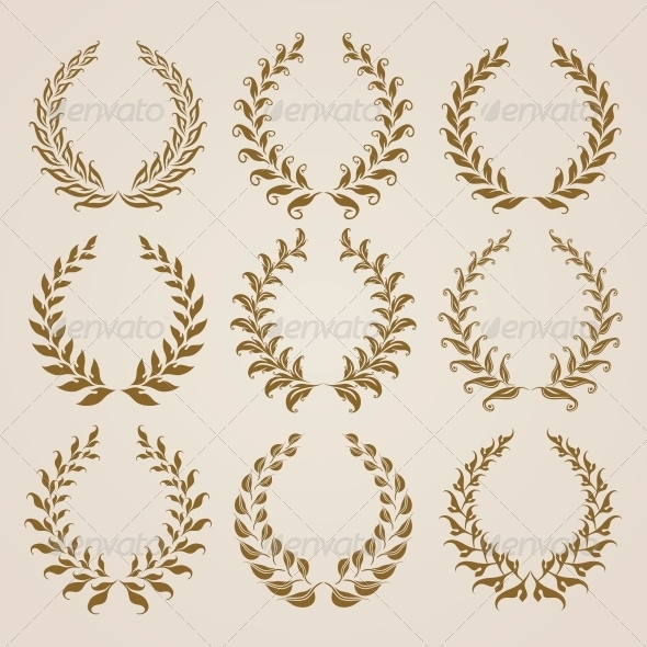 GraphicRiver Set of Gold Laurel Wreaths 6780196