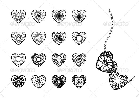 GraphicRiver Ornamental Heart Symbols 6780225