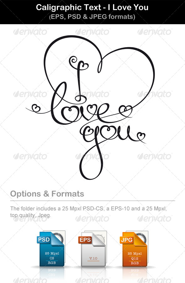 GraphicRiver Calligraphic Text I Love You 6780992