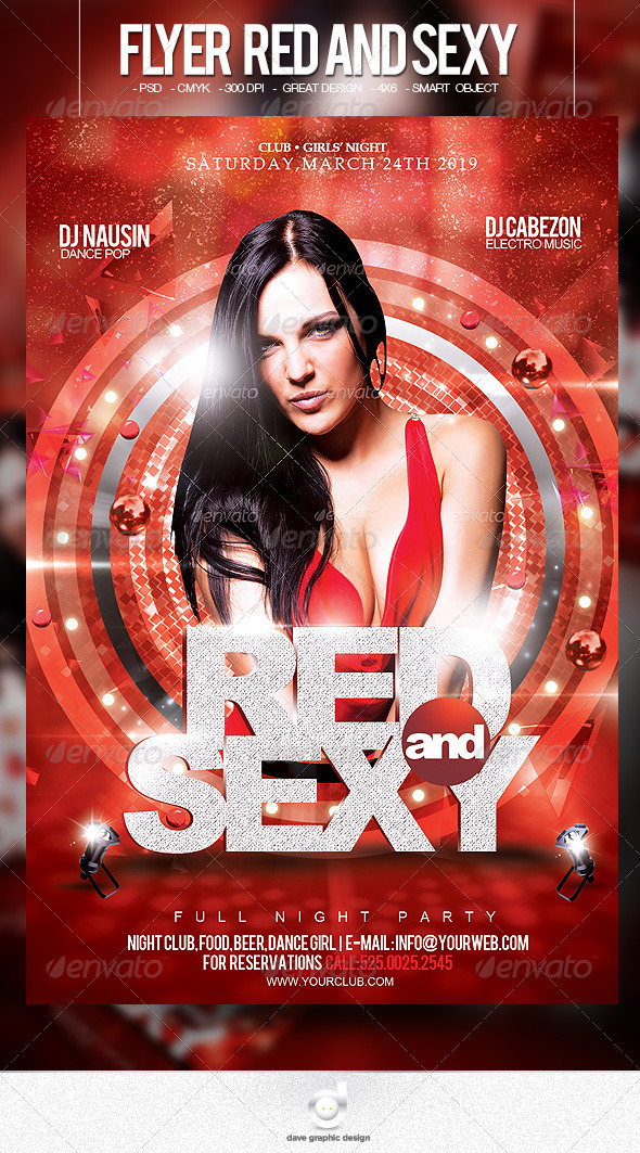 Flyer Red and Sexy Party