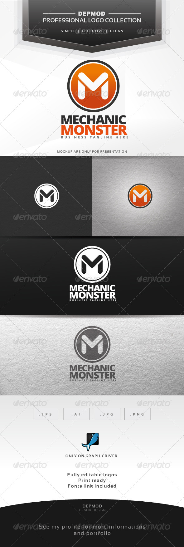 GraphicRiver Mechanic Monster Logo 6781873