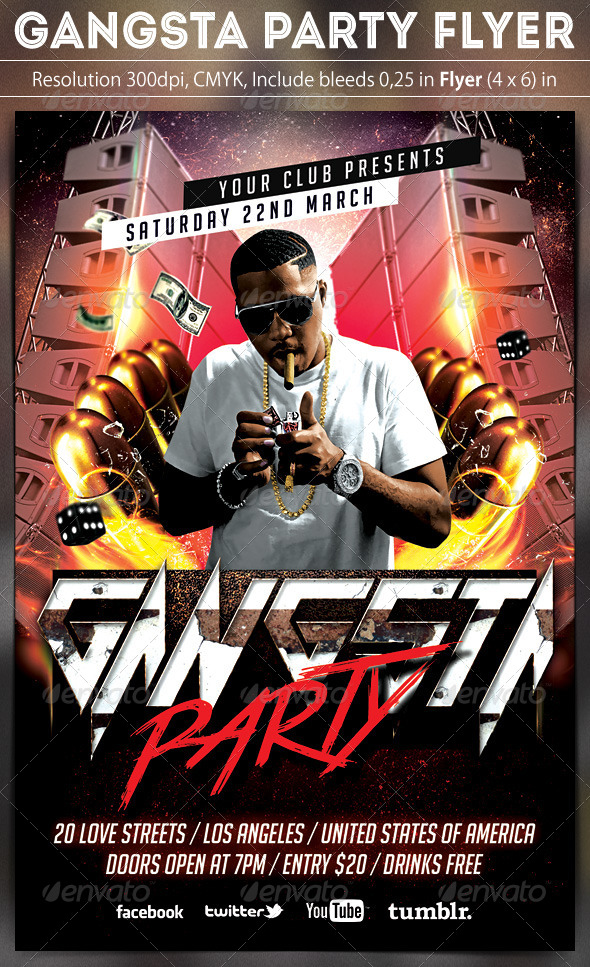 GraphicRiver Gangsta Party Flyer 6778800