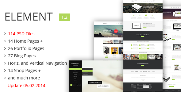 Element – Our newest PSD website template is full of modern features, has one of the biggest stack on Themeforest. It gives a wide selection of ways you c