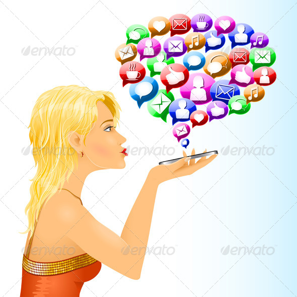 GraphicRiver Girl Social Media Sign Messages Conversation 6782616