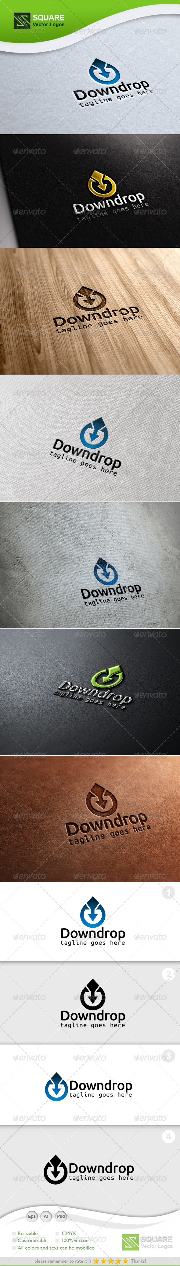 Drop Down Arrow Vector Logo Template - Nature Logo Templates