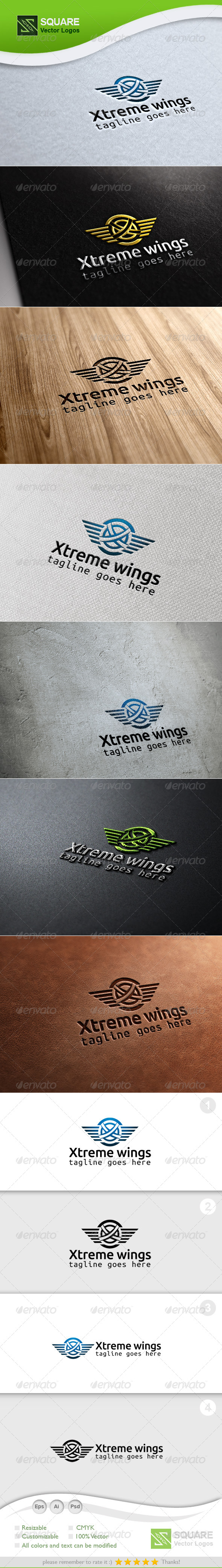 GraphicRiver X Wings Vector Logo Template 6782646