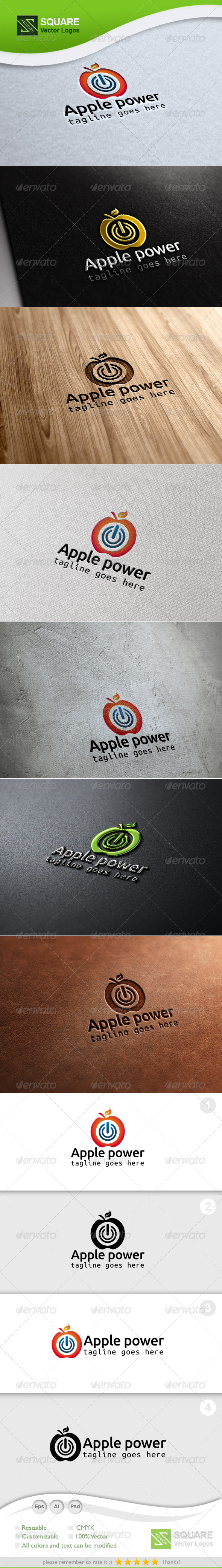 Apple Power Vector Logo Template