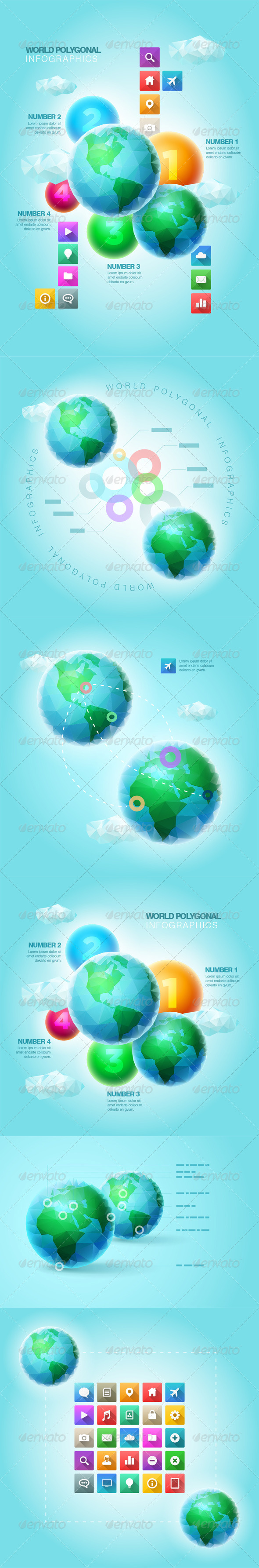 GraphicRiver Polygonal World Infographic Template Set 6758257