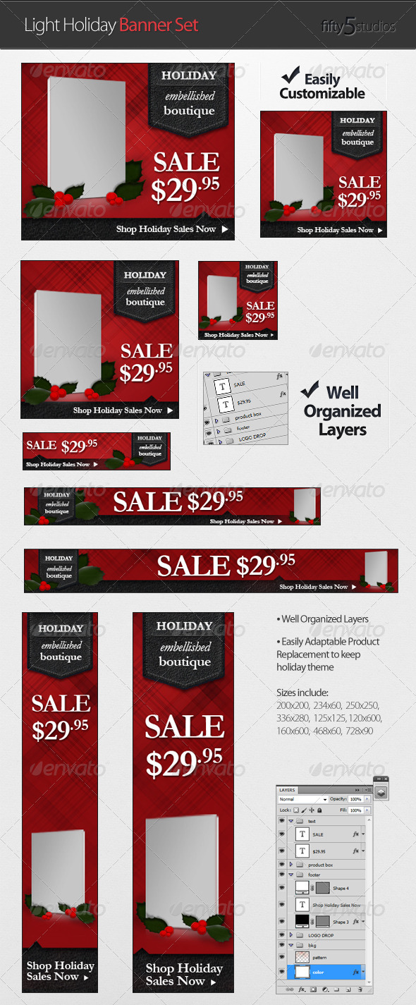 GraphicRiver Light Holiday Banner Set 709017