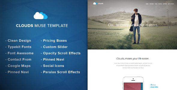 Clouds - Adobe Muse Template