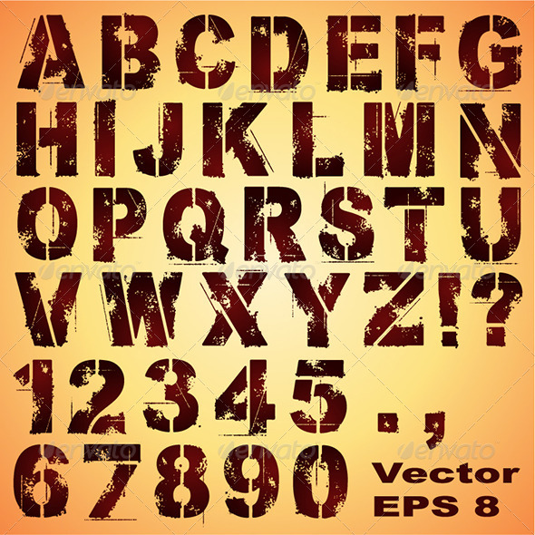 GraphicRiver Stencil Letters and Numbers 6783669