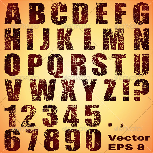 GraphicRiver Grunge Letters and Numbers 6783721