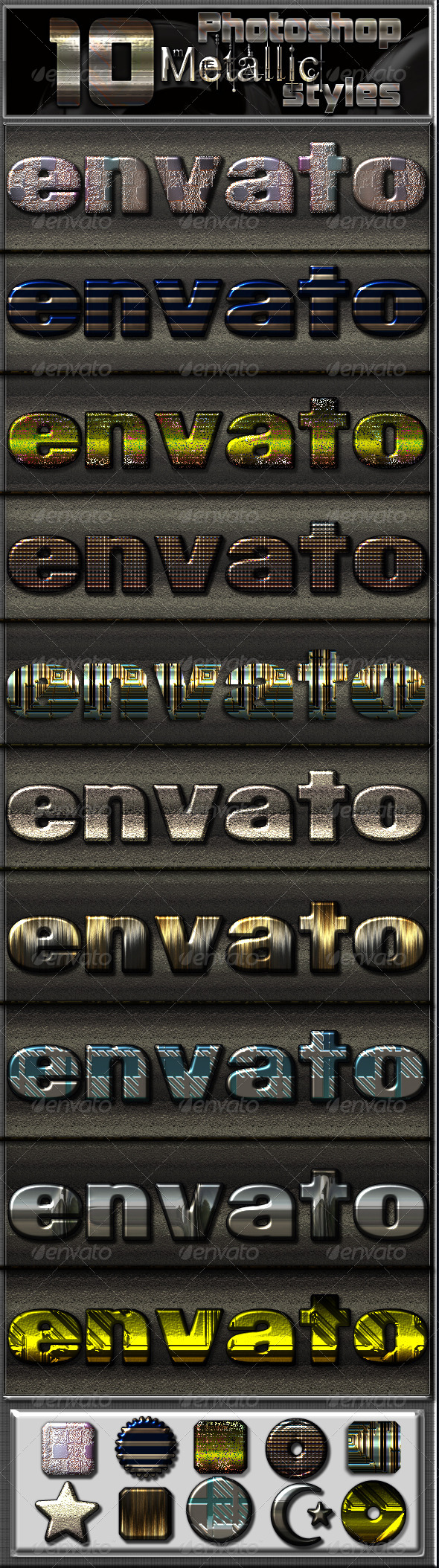 GraphicRiver 10 Special Metallic Photoshop Styles 6783781