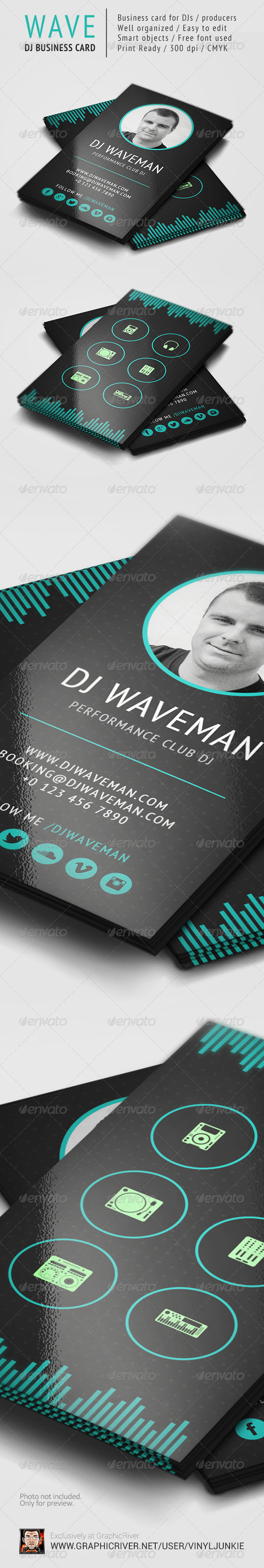 WAVE - DJ Business Card Template - Industry Specific Business Cards