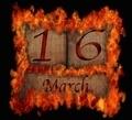 Burning wooden calendar March 16. - PhotoDune Item for Sale