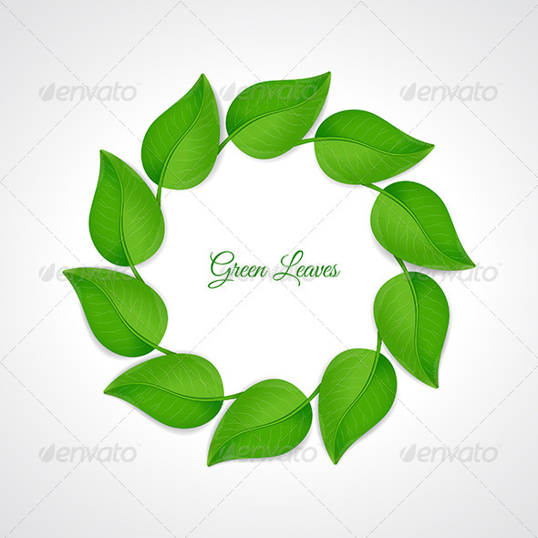 GraphicRiver Green Leaves Border 6784707