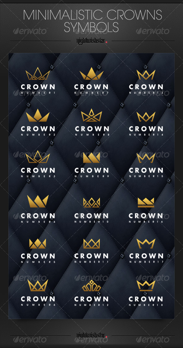 GraphicRiver Minimalistic Crowns Symbols 6785731