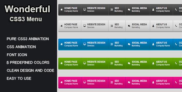 CodeCanyon Wonderfull CSS3 Menu 6786550