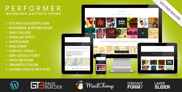 ThemeForest Performer Minimalistic Portfolio WordPress Theme 6757476