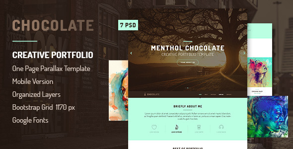 Chocolate - Creative Onepage Template PSD