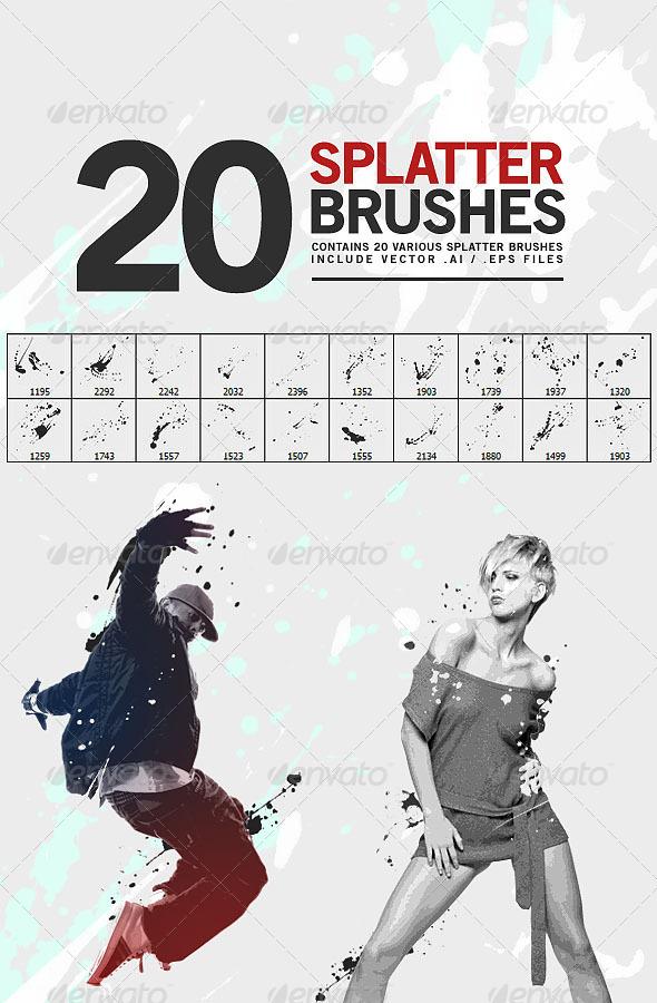 GraphicRiver 20 Splatter Brushes 6788079