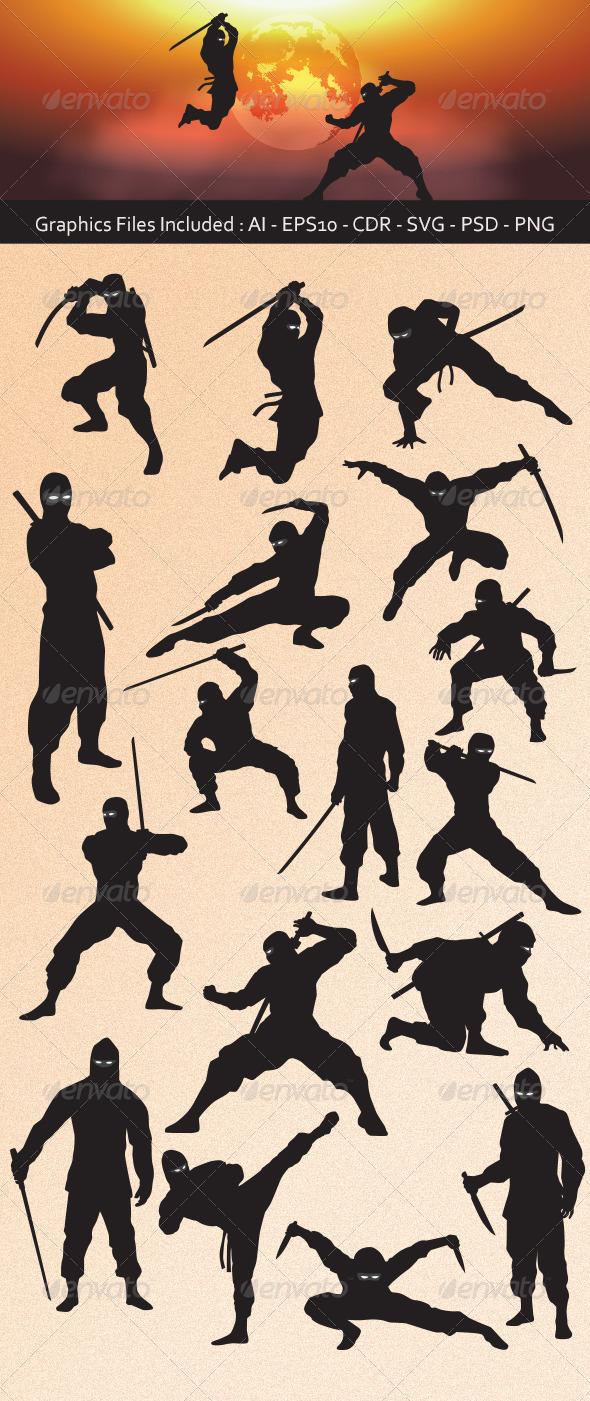 GraphicRiver Ninja Silhouettes 6788944