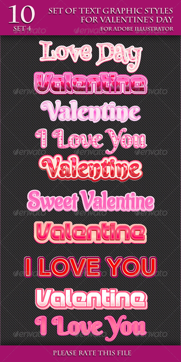 GraphicRiver Set of Text Graphic Styles for Valentine s Day 6789078