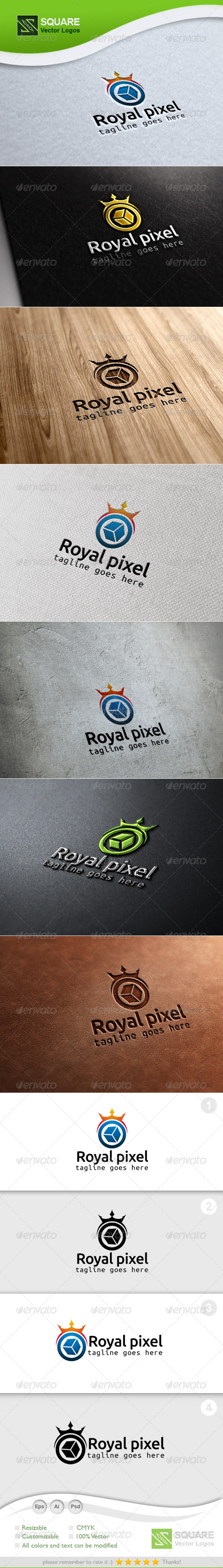 GraphicRiver Crown Pixel Vector Logo Template 6789588