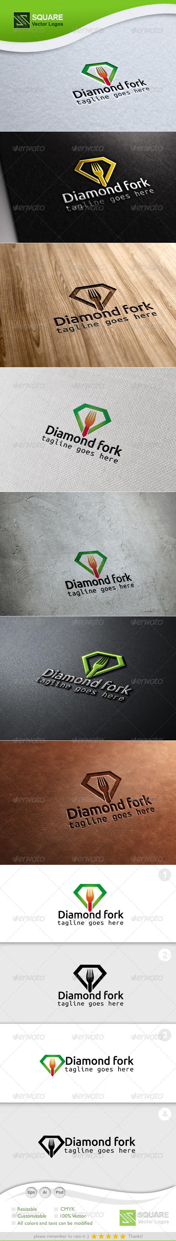Diamond, Fork Vector Logo Template - Food Logo Templates