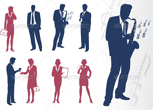 GraphicRiver Businessmen and Businesswomen Silhouettes 6789975