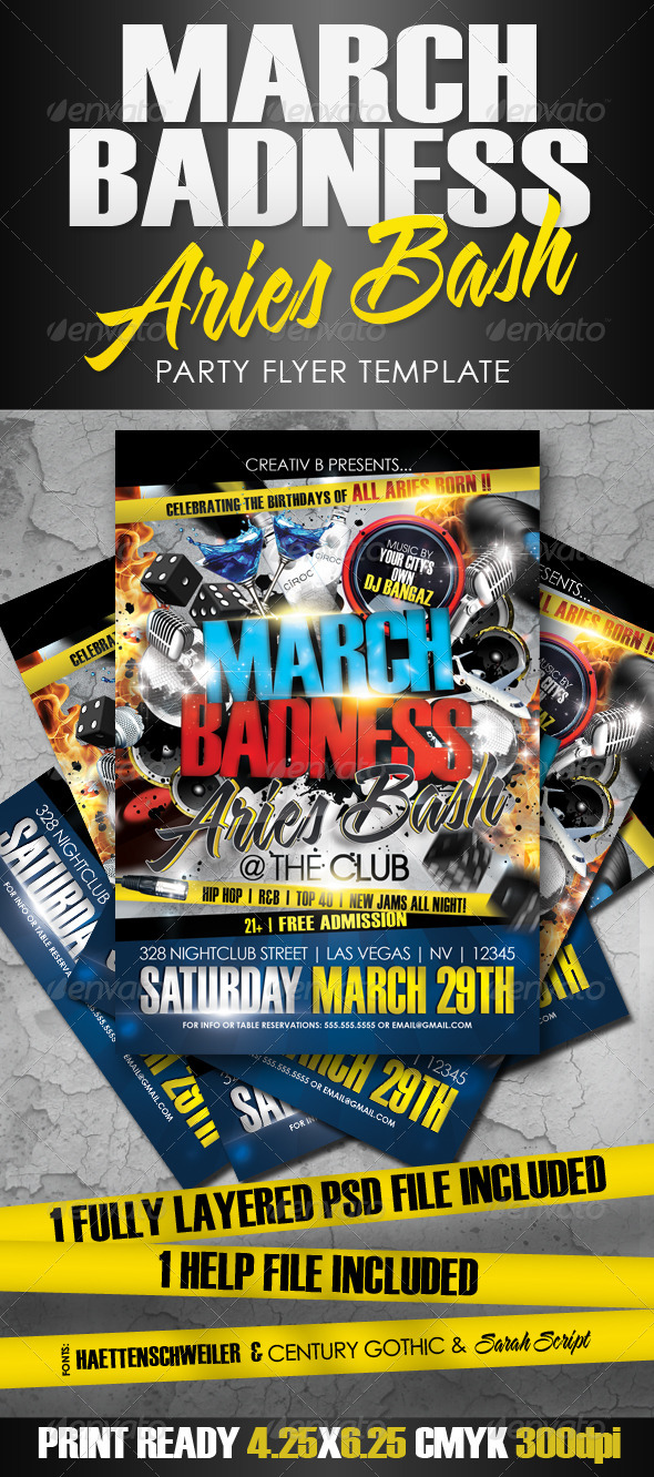 March Badness Aries Bash Flyer Template